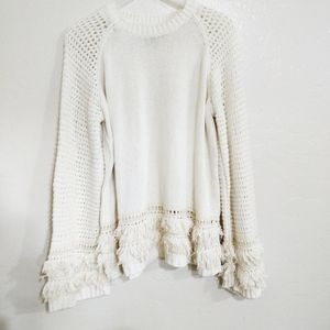 Chaser off white fray oversized sweater.